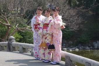 Kimonos on the bridge
