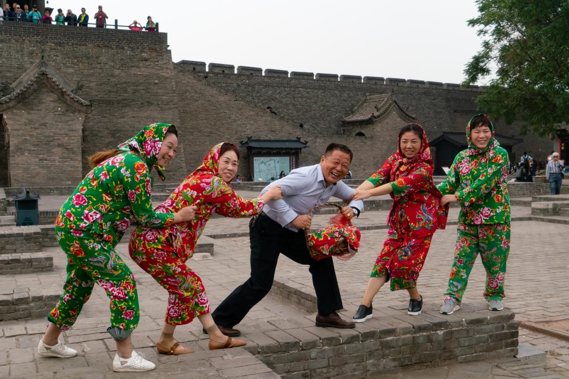 Fun outside Pingyao city walls